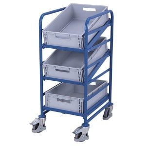 Chariot porte-bacs inclinable norme europe avec 3 bacs