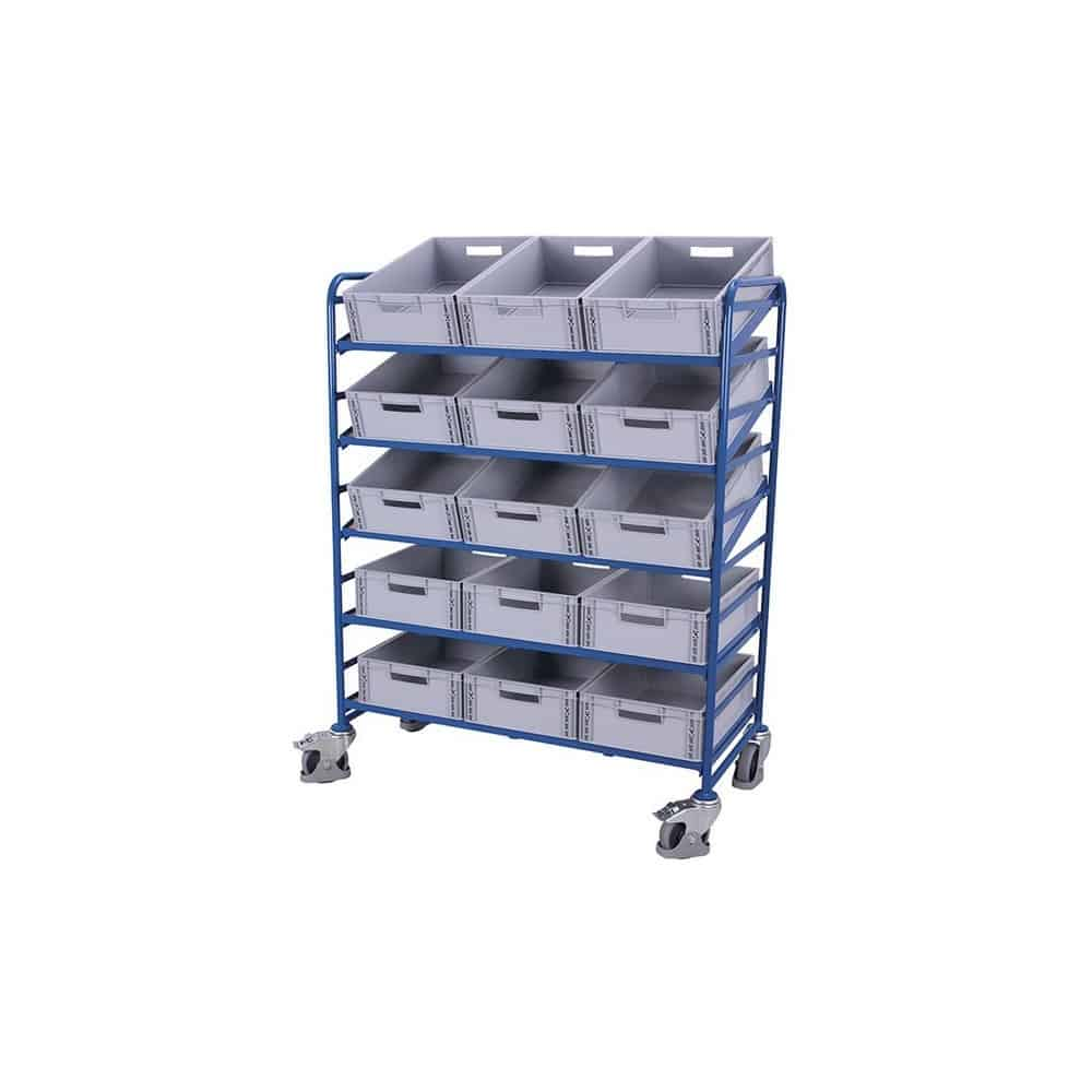 Chariot porte-bacs inclinable norme europe avec 15 bacs